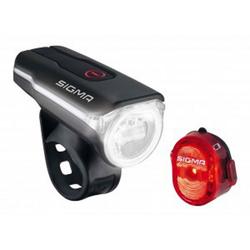 SIGMA Fahrradbeleuchtung Fahrrad LED Beleuchtung SET Sigma Aura 60 USB/Nugg