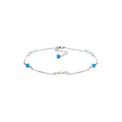 Elli Fußkette Basic Strand Bead Kristalle 925 Silber blau