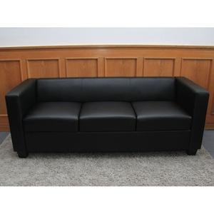 3er Sofa Couch Loungesofa Lille ~ Leder, schwarz
