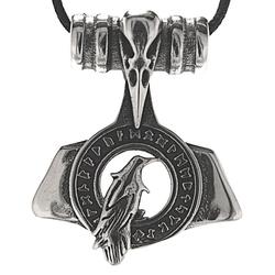 Kiss of Leather Kettenanhänger Thorshammer Thor Thors Hammer Thorhammer Rabe Rune Runen