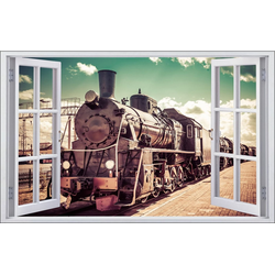 DesFoli Wandtattoo Fotografie Eisenbahn Lok Vintage F1771 bunt 150 cm x 98 cm