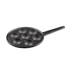 BigDean Poffertjespfanne Pförtchenpfanne aus Gusseisen − 7 Augen, pro Auge Ø 5,5 cm − Pfanne für Pancakes, Schnecken, Förtchen, Takoyaki & Aebleskiver − Mit Stielgriff, (1-tlg)