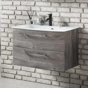 Waschschrank in Eiche Grau Wandmontage