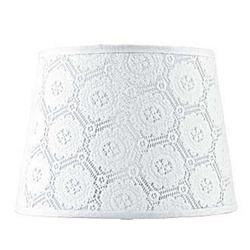 Licht-Erlebnisse Lampenschirm WILLOW Lampenschirm Nachttischlampe Weiß Stoff Spitze Tischleuchte Lampe