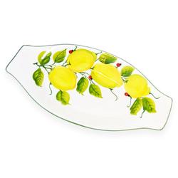 Lashuma Servierplatte Marienkäfer Zitrone, Keramik, Servierteller mit Rand, ovale Dessertschale 19 cm x 38 cm x 4 cm