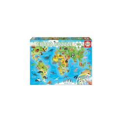 Educa Puzzle Puzzle, 150 Teile, 48x34 cm Kontinente Tiere, Puzzleteile