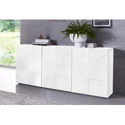 LC Sideboard Miro, Breite 181 cm mit dekorativem Siebdruck weiß