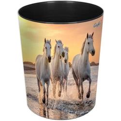 Papierkorb 13 Liter rund Kunststoff Pferde am Strand