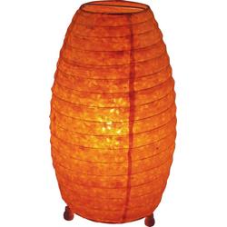 Guru-Shop Tischleuchte Corona Lokta Papier Tischlampe 30 cm orange