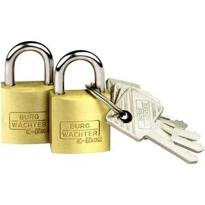 Burg Wächter 2er Set Duo 222 20 SB Vorhängeschloss gleichschließend Messing Schlüsselschloss