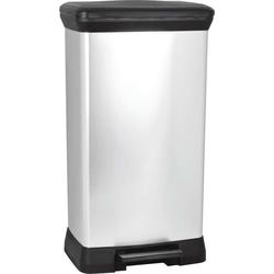 CURVER Decobin Tritt-Mülleimer silber-schwarz 50 L