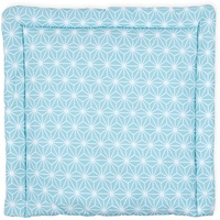 KraftKids Wickelauflage weiße Diamante auf Pastel Blau, Wickelunterlage 60x70 cm (BxT), Wickelkissen