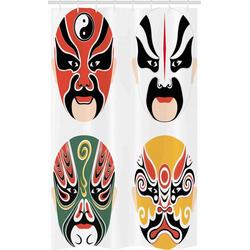Abakuhaus Duschvorhang Badezimmer Deko Set aus Stoff mit Haken Breite 120 cm, Höhe 180 cm, Kabuki-Maske Drama Kostüme
