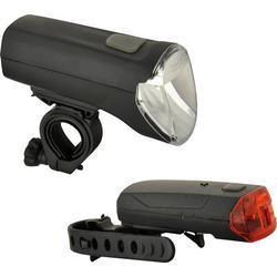 Fischer Fahrrad Fahrradbeleuchtung Set 85347 LED batteriebetrieben Schwarz