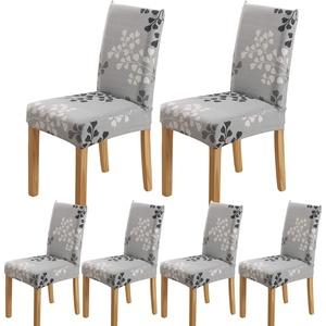 ARNTY Stuhlhussen 4er 6er Set,Stretch Stuhl Bezug Esszimmer,Universal Moderne Elastische Hussen für Stühle für Esszimmer Party Hotel Restaurant Deko (Blatt, 6 Stück)