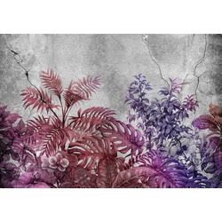 Consalnet Vliestapete Violette Pflanzen/Beton, floral 2,08 m x 1,46 m