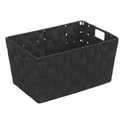 WENKO Adria S Aufbewahrungskorb, Kunststoffgeflecht,  Maße: 30 x 15 x 20 cm, Farbe: schwarz