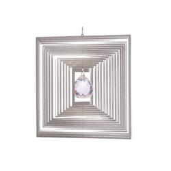 ILLUMINO Windspiel Edelstahl Windspiel Quadrat Quadro -XL mit klarer 40mm Kristallkugel Metall Windspiel für Garten und Wohnung Gartendeko Wohn und Fenster Deko
