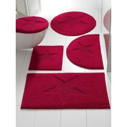 Badteppich mit Stern-Motiv rot ca. 50/80 cm, halbrund