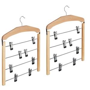 2 x Rockbügel mehrfach, Hosenbügel Holz, 360° drehbarer Haken, Kleiderbügel rutschfest, HBT 45,5x39x2,5 cm, Silber/Natur