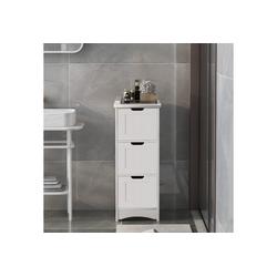 Gotui Badkommode, Badezimmerschrank, schmaler Badschrank, Beistellschrank, Kommode, mit 3 Schubladen, freistehend, weiß
