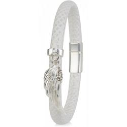 styleBREAKER Armband Schmales Armband mit Flügel und Strass, Schmales Armband mit Flügel und Strass weiß