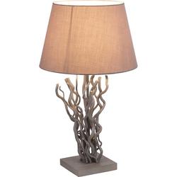 Tisch Leuchte Schlaf Zimmer Beistell Nacht-Licht Natur Holz Lampe Textil grau Globo 25631