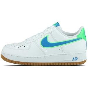 Nike Herren AIR Force 1 '07 LV8 Basketballschuh, White Lt Photo Blue Poison Green Gum Lt Brown, 41 EU