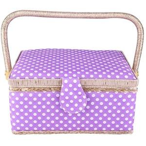 Doppelschicht-Nähkorb, tragbare handgemachte lila Nähkorb Medium Haushalt Stoff Handwerk Thread Nadel Aufbewahrungsbox mit abnehmbarer Kunststoffschale