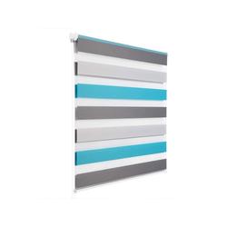 Doppelrollo, Woltu, Duo Rollo Klemmfix ohne Bohren im Fixmaß blau 90 cm x 150 cm