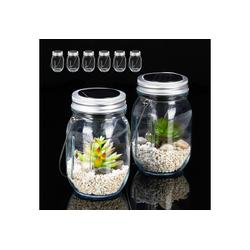 relaxdays Gartenleuchte 8 x Solarlampe Glas