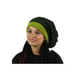 KUNST UND MAGIE Ballonmütze Kunst und Magie Mütze aus Samt Dreadtube Dreadhead Dreads Hippie Goa 2i1 grün
