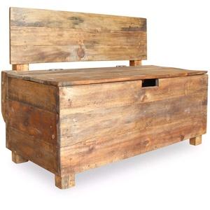 yorten Holz Aufbewahrungsbank mit Lehne, 2-Sitzer Retro Sitztruhe Holzbank Sitzbank mit Stauraum, Recyceltes Massivholz 86 x 40 x 60 cm (B x T x H)