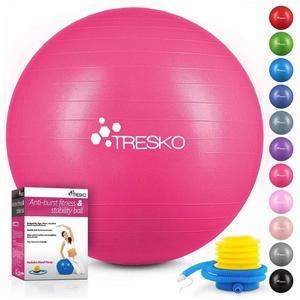 TRESKO Gymnastikball, Yogaball mit GRATIS Übungsposter inkl. Luftpumpe - Fitnessball BPA-Frei, Sitzball Büro, Sitzball Anti-Burst, 300 kg Belastbarkeit rosa 65 cm