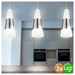 etc-shop LED Pendelleuchte, 3er Set LED Hänge Pendel Leuchte Wohn Zimmer Decken Strahler Flur Lampe silber