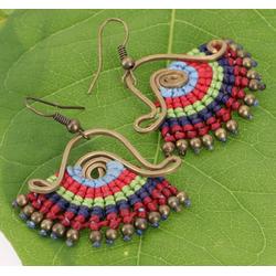 Guru-Shop Paar Ohrhänger Hängeohrring aus Messing mit Makrameee - rot/grün