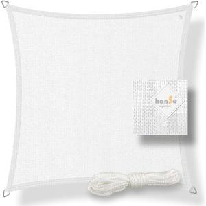 hanSe® Marken Sonnensegel Sonnenschutz Wetterschutz Wetterbeständig HDPE Gewebe UV-Schutz Quadrat 2,5x2,5 m Weiß