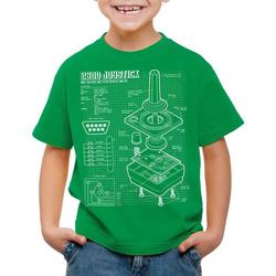 style3 Print-Shirt Kinder T-Shirt 2600 VCS Computer Blaupause 80er Joystick 8-Bit retro gamer grün 140