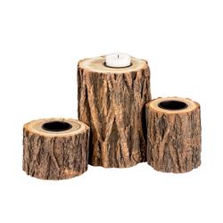 BigDean Kerzenständer Set Kerzenständer Baumstamm−Design − Für Teelichter, Stumpenkerzen und DiY−Ideen