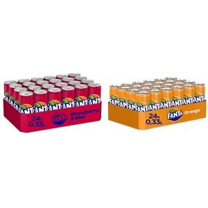 Fanta Strawberry & Kiwi 24er Pack, EINWEG (24 x 330 ml) & Orange EINWEG Dose, (24 x 330 ml)