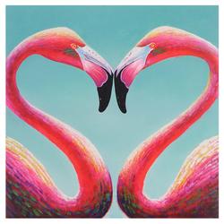 Ölgemälde Flamingo, 100% handgemaltes Wandbild Gemälde XL, 90x90cm