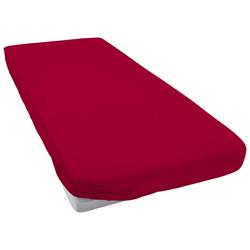Spannbettlaken Elastic-Jersey, Janine, auch für Wasserbetten rot 90-100 cm x 190-200 cm