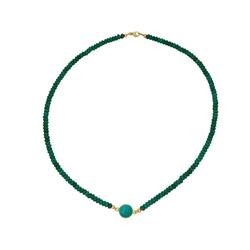 Gemshine Collier Choker grüner Smaragd und Türkis, Made in Germany goldfarben