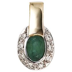 JOBO Kettenanhänger, oval 585 Gold bicolor mit 8 Diamanten und Smaragd