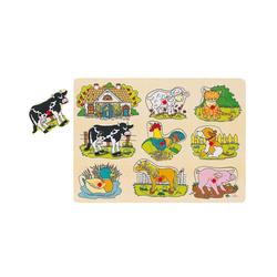 goki Steckpuzzle Tierstimmen Steckpuzzle Bauernhof, Puzzleteile