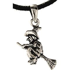 Kiss of Leather Kettenanhänger zierliche Hexe Hexen Besen Hexenbesen Anhänger Silber 925 0,5x55cm