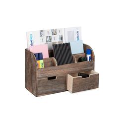 relaxdays Aufbewahrungsbox Organizer Schreibtisch Holz