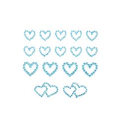 16 Herz Sticker Strass Steine Aufkleber Hochzeit Deko - blau