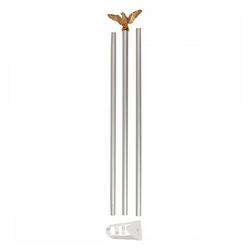 MFH Fahne Fahnenstange, weiß, mit goldfarbenen Adler (3-St), mit goldfarbenen Adler