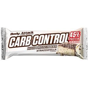 Body Attack Carb Control, Proteinriegel ohne Zuckerzusatz, Low Sugar– High Protein, Eiweißriegel mit Whey, auch in der Mix-Box (Stracciatella, 10 x 100g)